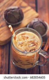 Iced coffee with chocolate muffins