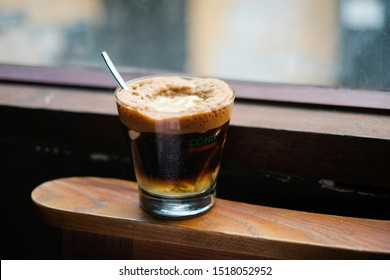 The Iced coffee with ginger cream of the brand Cong Caphe coffee. Taken at Ho Chi Minh city, Viet Nam. Taken in Sep, 2019