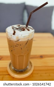 Iced coffee in glass, Close up.