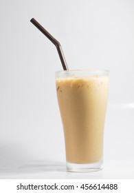iced coffee in glass white background