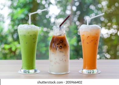 Iced coffee, greentea, milk tea  is on the table