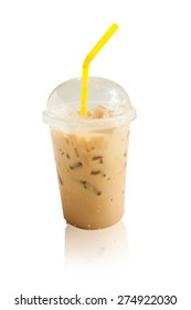 iced coffee isolated white background
