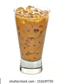 Iced coffee latte in long glass with clipping path