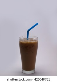 Iced coffee in long glass , Put on a white background.
