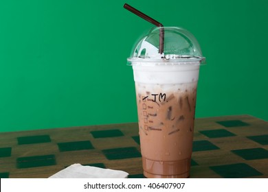 Iced coffee mocha in plastic cup for takeaway
