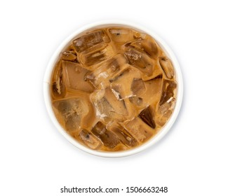 Iced coffee in a paper cup isolated on white background from top view, with clipping path.