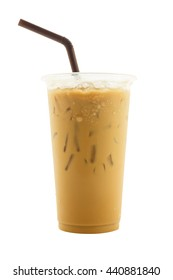 iced coffee in plastic cup isolated on white background