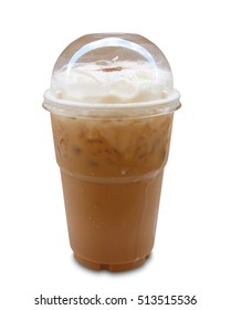 Iced coffee in plastic glass isolated on white background