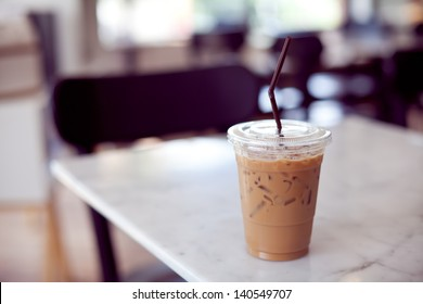 Iced coffee in coffee shop.