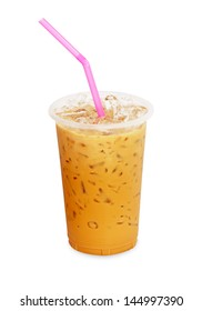 Iced coffee with straw in plastic cup isolated on white