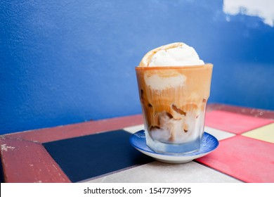 Iced coffee with vanilla ice cream, Affogato