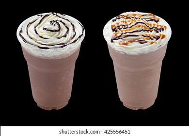 Iced coffee with whipping path on black background