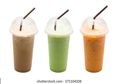 Iced coffee,Green tea milk,Milk tea put straw on white background