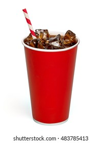 Iced cola with straw in blank paper cup on white background including clipping path