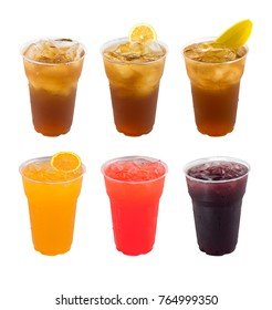 Iced Drinks Collection of fruit juices ,lemon tea and cocktails in glasses isolated on white background