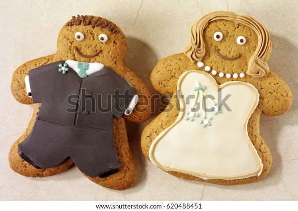 Iced Gingerbread Biscuits Man Woman Bride Stock Photo Edit Now
