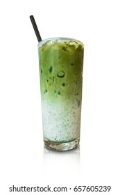 Iced green tea matcha latte isolate on white background with clipping path.