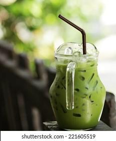 Iced green tea milk