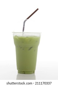 Iced Green tea with a tube on white background