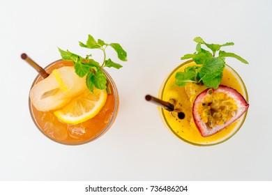 Iced juice cocktails drinking glass - Vintage Filter