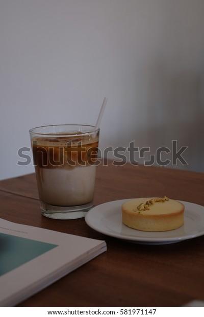 Iced Latte with Lemon tart