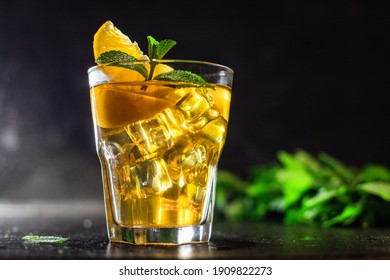 iced lemonade or lemon cocktail takeaway iced tea portion on the table for healthy meal snack outdoor top view copy space for text food background rustic image keto or paleo diet