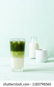 iced matcha green tea latte with milk