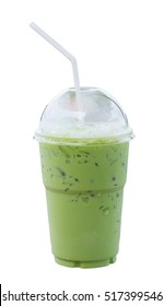 Iced milk green tea in plastic cup with lid on white background
