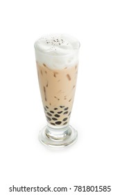 Iced milk tea with bubble frappucino isolated on white background.