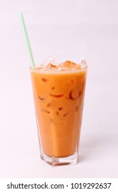 iced milk tea with straw isolated