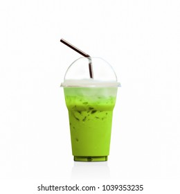 Iced Milk Tea with straw in plastic cup isolated on white background.