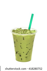 Iced mocha or matcha green tea latte in tall glass isolated on white background