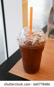 Iced tea on cafe table