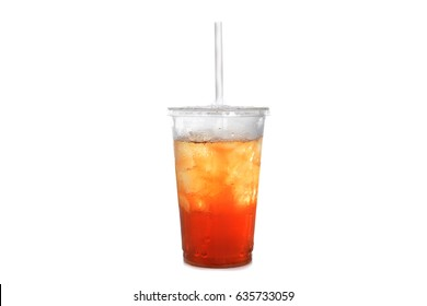iced tea in plastic cup with straw white background