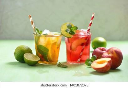 Iced tea, summer refreshment drink or cocktails, lemon, peach and lime tead