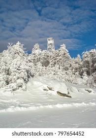 Iced watchtower, Okemo, Vermont