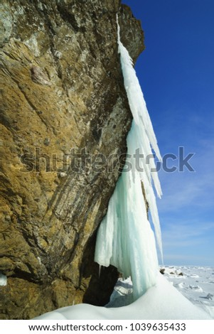 Icefalls on the shore