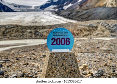 Icefield Park, Canada - August 19, 2020: Signs noting glacier depletion a ong the Athabasca glacier