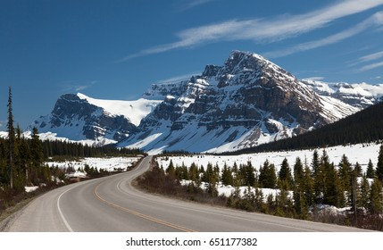 Icefields Parkway - Canada Route 93. Road in Canadian Rockies in Spring, Alberta, Canada.