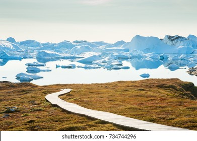 Icefjord with icebergs in Ilulissat, western Greenland