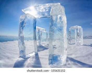 Icehange - stonehenge made from ice on lake Baikal in Sineria under winter Sun