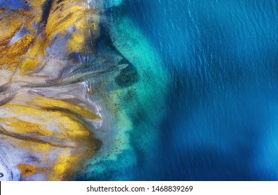 Iceland. Aerial view on the coast line. Beach and sea from air. Famous place in Iceland. Summer seascape from drone. Travel - image