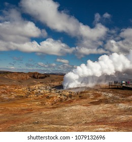 Iceland - April 28, 2018 : Geothermal area Gunnuhver is a tourist attraction situated at Reykjanes peninsula in Iceland.
