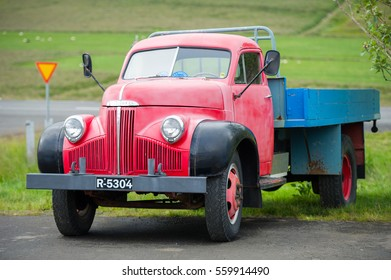 ICELAND - AUG 29, 2015: Studebaker M16 52A truck. Studebaker (1852-1967) was an American wagon and automobile manufacturer based in South Bend, Indiana.