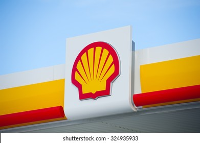 ICELAND - AUG 29: Shell sign on Aug. 29, 2015 in Iceland. Shell Oil Company is US-based subsidiary of Royal Dutch Shell, a multinational oil company. As of 2012 Revenue: $467.2 billion.