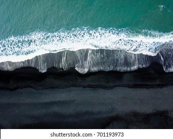 Iceland Black Sand Beach Vik Aerial Drone