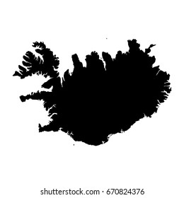 Iceland Black Silhouette Map Outline Isolated on White 3D Illustration