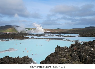Iceland Blue lagoon full view on the thermal pool with rocks and steam in the background