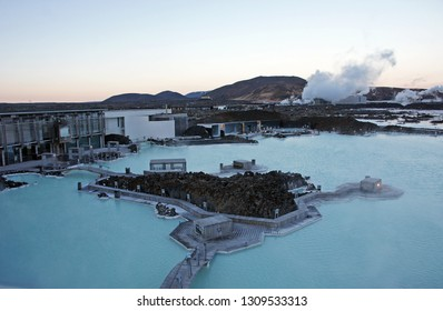 Iceland Blue Lagoon geothermal spa and retreat in the sunset