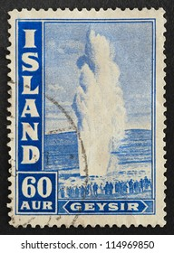 ICELAND - CIRCA 1938: Mail stamp printed in Iceland featuring the famous Great Geysir (Geyser) natural geothermic fountain, circa 1938